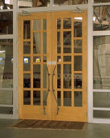 Large white oak doors for St. Albert the Great Catholic Church in Austin, TX