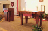 The altar and ambo at the University Catholic Center on campus at The University of Texas in Austin, TX, were made out of Argentinian mesquite.