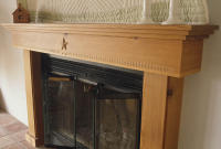 Antique longleaf yellow pine mantel with Texas star motif