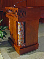 Ambo (or pulpit) for St. Austin Catholic Church utilizing marble from the former communion rail and reflecting the carved Celtic braid design from the baldacchino