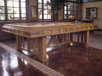 This 10-ft. Arts & Crafts table was made from quartersawn white oak with copper detailing and was commissioned to hold an architectural model in a sales office designed as a turn-of-the-century train station